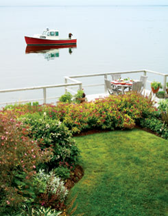 A deck offering splendid water views is bordered by a hedge  of ?Goldflame? spirea in the plant-packed New Brunswick  garden of Deborah and Rick Smith.