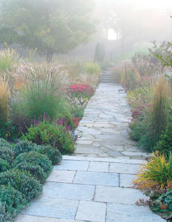 a sumptuous mix of ornamental grasses, sedum and clipped ?Munstead? lavender line the central pathway leading to the ?oculus? in the distant trees.
