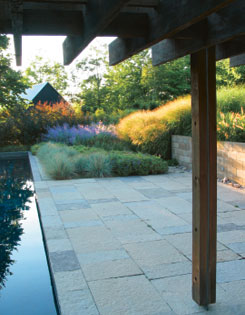 blue oat grass, Russian sage and glowing ?Squaw? switch grass soften the geometry of pavers and pool